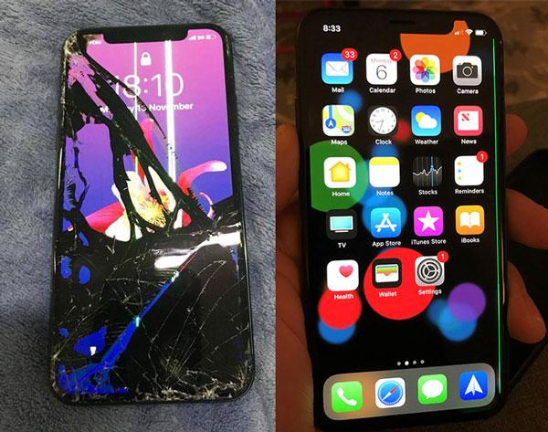 Màn hình iPhone bị vỡ kính chảy mực và bị sọc